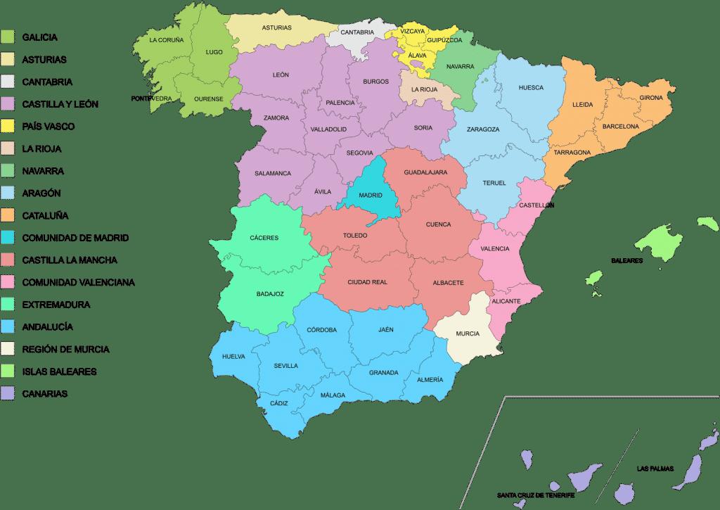 mapa españa comunidades y provincias