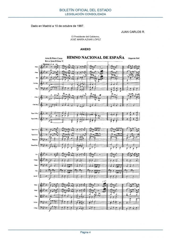 partitura himno españa