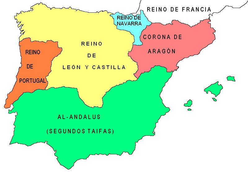 mapa españa año 1150