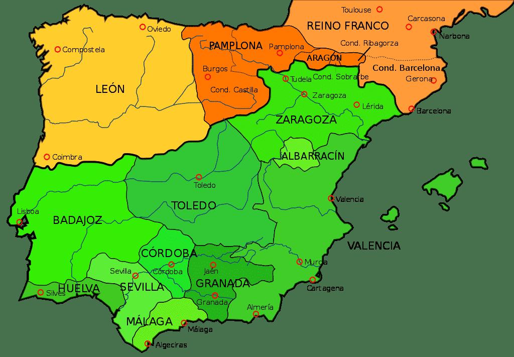 mapa peninsula iberica siglo XI